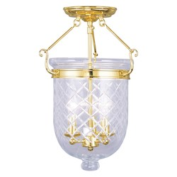 Livex Lighting Polished Brass Foyer Hall Semi-Flush Mount
