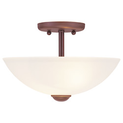 Livex Lighting Vintage Bronze Bowl Semi-Flush Mount