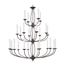 Livex Lighting Bronze 24 Light 960W Chandelier With Candelabra Bulb Base