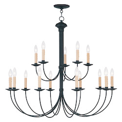 Livex Lighting Black Heritage Up Lighting 2 Tier Chandelier With 15 Lights