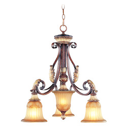 Livex Lighting Verona Bronze 3 Light 300W Chandelier With Medium Bulb Base And Rustic Art Glass