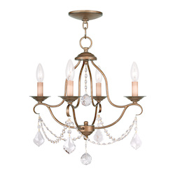 Livex Lighting Four Light Antique Gold Leaf Up Mini Chandelier