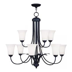 Livex Lighting Black Ridgedale Up Lighting 2 Tier Chandelier With 9 Lights