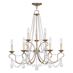 Livex Lighting Antique Silver Leaf Up Chandelier