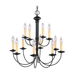Livex Lighting Black 12 Light 720W Chandelier With Candelabra Bulb Base From Heritage Series