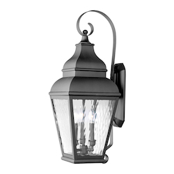 Livex Lighting Black Exeter Large Outdoor Wall Sconce With 3 Lights
