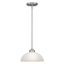 Livex Lighting Brushed Nickel 1 Light 100 Watt Mini Pendant With Satin Glass