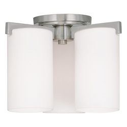 Livex Lighting Brushed Nickel Astoria 3 Light Flush Mount Ceiling Fixture