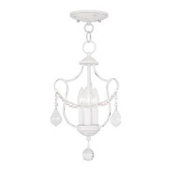 Livex Lighting Three Light Antique White Up Chandelier