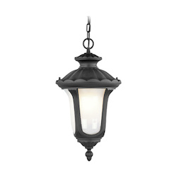Livex Lighting Black 1 Light 100W Outdoor Pendant With Medium Bulb Base And Iced Cased Glass