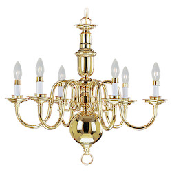 Livex Lighting Polished Brass 6 Light 360W Chandelier With Candelabra Bulb Base