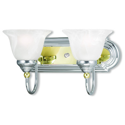 Livex Lighting Two Light Chrome & Polished Brass Vanity