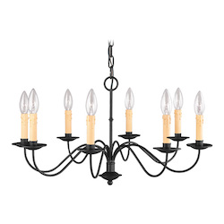 Livex Lighting Black 8 Light 480W Chandelier With Candelabra Bulb Base From Heritage Series