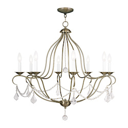 Livex Lighting Antique Brass Chesterfield 8 Light 1 Tier Chandelier