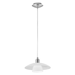 Eglo Matte Nickel 1 Light Bowl Shaped Pendant from the Brenda Collection