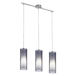 Eglo Open Box Matte Nickel 3 Light Island / Billiard Fixture from the Pinto Nero Collection