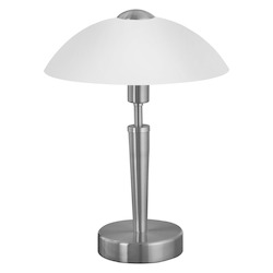 Eglo Nickel and Beech Solo 1 Single-Bulb Touch-Dimming Table Lamp