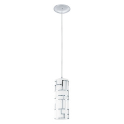 Eglo Chrome Bayman 1 Light Mini Pendant with White / Decor Glass Shades