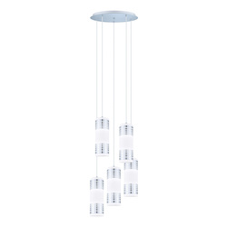 Eglo Chrome Bayman 5 Light Pendant with Matte White Glass Shades