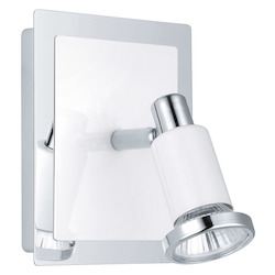 Eglo Chrome and Shiny White Eridan 1x50W Wall Light in Chrome and Shiny White Finish