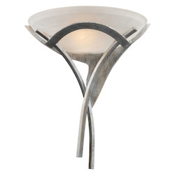 ELK Lighting One Light Tarnished Silver White Faux-Alabaster Glass Wall Light