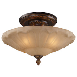 ELK Lighting Four Light Golden Bronze Bowl Semi-Flush Mount