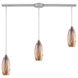 ELK Lighting Three Light Satin Nickel Golden Glass Multi Light Pendant