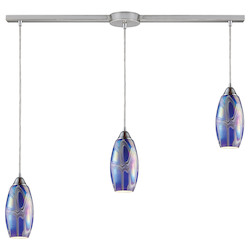 ELK Lighting Three Light Satin Nickel Storm Blue Glass Multi Light Pendant