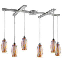 ELK Lighting Six Light Satin Nickel Golden Glass Multi Light Pendant