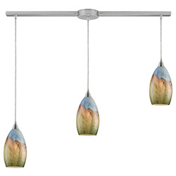 ELK Lighting Three Light Satin Nickel Multi Light Pendant