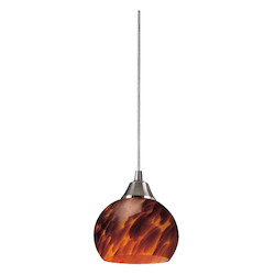ELK Lighting One Light Satin Nickel Espresso Glass Down Mini Pendant