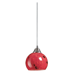 ELK Lighting One Light Satin Nickel Fire Red Glass Down Mini Pendant