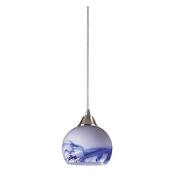 ELK Lighting One Light Satin Nickel Mountain Glass Down Mini Pendant