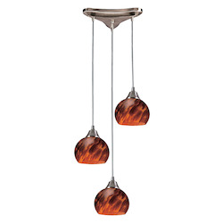 ELK Lighting Three Light Satin Nickel Espresso Glass Multi Light Pendant