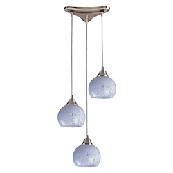 ELK Lighting Three Light Satin Nickel Snow White Glass Multi Light Pendant