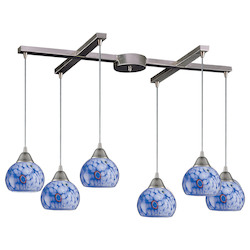 ELK Lighting Six Light Satin Nickel Starlight Blue Glass Multi Light Pendant