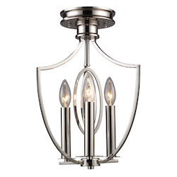 ELK Lighting Three Light Polished Nickel Cage Semi-Flush Mount