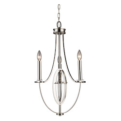 ELK Lighting Three Light Polished Nickel Up Chandelier