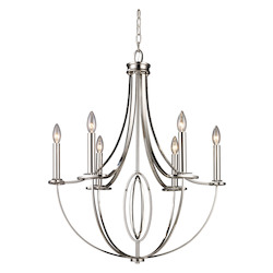 ELK Lighting Six Light Polished Nickel Up Chandelier