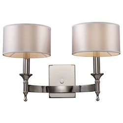 ELK Lighting Two Light Polished Nickel Wall Light