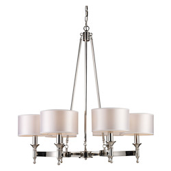 ELK Lighting Six Light Polished Nickel Drum Shade Chandelier