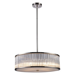 ELK Lighting Five Light Polished Nickel Drum Shade Pendant