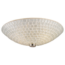 ELK Lighting Two Light Satin Nickel Silver Mosaic Glass Bowl Flush Mount