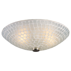 ELK Lighting Two Light Satin Nickel White Mosaic Glass Bowl Flush Mount