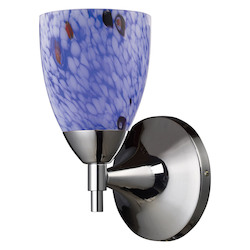 ELK Lighting One Light Polished Chrome Starburst Blue Glass Wall Light