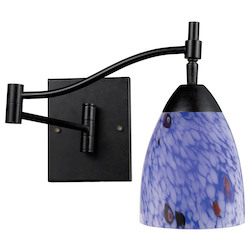 ELK Lighting One Light Dark Rust Starburst Blue Glass Wall Light