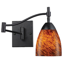 ELK Lighting One Light Dark Rust Espresso Glass Wall Light