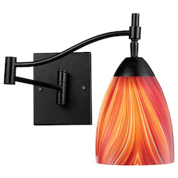 ELK Lighting One Light Dark Rust Multi Glass Wall Light