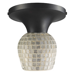 ELK Lighting Celina Semi-Flush With Adaptor Kit Silver Mosaic Glass