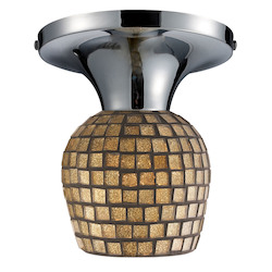 ELK Lighting Celina Semi-Flush With Adaptor Kit Gold Leaf Glass